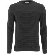 Jack & Jones Men's Core Boost Stripe Jumper - Dark Grey Melange/Black Stripes