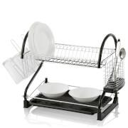 Swan 2 Tier S Shape Dish Rack - Black