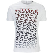 Crosshatch Herren Noremac Faded Logo Print T-Shirt - White