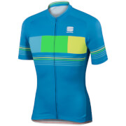 Sportful Stripe Short Sleeve Jersey - Blue/Yellow
