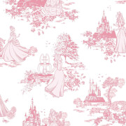 Disney Princess Girls Toile Print Pink Wallpaper