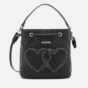 Love Moschino Women's Heart Whipstitch Bucket Bag - Black