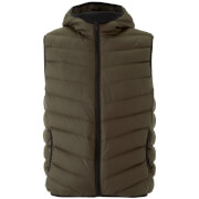 Brave Soul Men's Blackburn Padded Hooded Gilet - Khaki