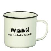 Parlane 'Warning Drizzle' Enamel Mug - White (8 x 9cm)