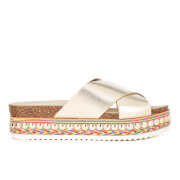Carvela Women's Kake Leather Crossover Slide Sandals - Gold