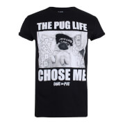 Doug The Pug Chose Me Dames T-Shirt - Zwart