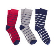 Ben Sherman Men's Esk 3 Pack Socks - Red/Navy/Grey Marl - UK 7 - 11