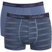 Calvin Klein Men's CK One Cotton 2 Pack Trunks - Extended Line Casper Blue
