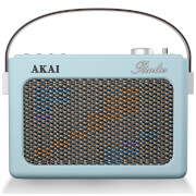 Akai Retro Vintage Portable Wireless AM/FM Radio with LCD Screen - Blue