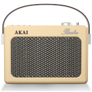 Akai Retro Vintage Portable Wireless AM/FM Radio with LCD Screen - Cream
