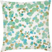 Confetti Print Cushion - Green and Turquiouse