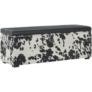 Fifty Five South Rodeo Storage Black Leather Effect Bench - Black/White Cowhide