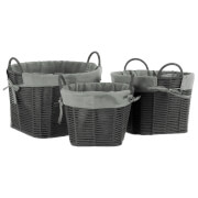 Fifty Five South Lida Circular Rope Metal Wire Storage Baskets - Grey (Set of 3)