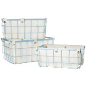 Fifty Five South Rectangle Wire Storage Baskets - Blue (Set of 3)