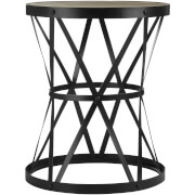 Fifty Five South New Foundry Round Side Table - Fir Wood/Metal