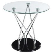 Fifty Five South Halo Circular Tempered Glass Side Table - Chrome/Black