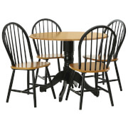 Fifty Five South Vermont Oakland Five Piece Table Set - Matt Black