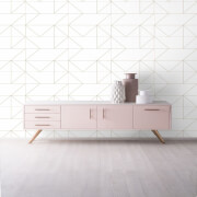 Kelly Hoppen Geo Geometric Metallic Wallpaper - Gold