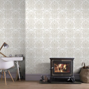 Superfresco Empress Glitter Damask Wallpaper - Gold