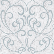 Boutique Cork Damask Metallic Textured Wallpaper - Pale Blue/Silver