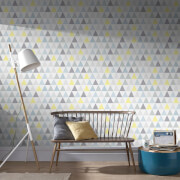 Superfresco Easy Tarek Geometric Wallpaper - Yellow/Grey