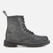 Dr. Martens Kids' Delaney Pebble Metallic 8-Eye Lace Up Boots - Black/Silver