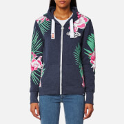 Superdry Women's Tokyo Burnout Zip Hooded Jumper - Princeton Blue Marl