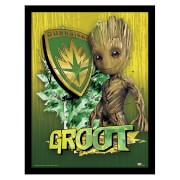 Affiche Encadrée Gardiens de la Galaxie Vol.2 Bouclier de Groot 30 x 40 cm