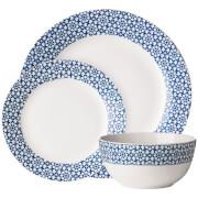 Premier Housewares 12 Piece Avie Casablanca Dinner Set - Blue Porcelain