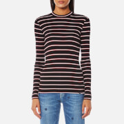 Maison Scotch Women's Vintage Inspired Rib Top with High Neck - Combo B