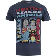 T-Shirt Homme DC Comics Justice League Line Up - Gris Charbon