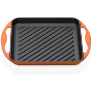 Le Creuset Cast Iron Skinny Square Grill - 24cm - Volcanic