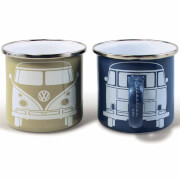 VW Collection Set of 2 Enamel Mugs in Gift Box - Beige/Grey