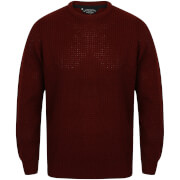 Kensington Men's Crew Neck Jumper with Waffle Stitch - Oxblood