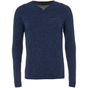 Dissident Men's Helter Mock Layered Long Sleeve Top - Midnight Blue