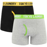 Tokyo Laundry Men's Heiron 2 Pack Boxers - Yellow Iris/Laundered Green