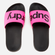 Superdry Women's Pool Slide Sandals - Black/Fluro Pink