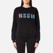 MSGM Women's Sequin Logo Sweatshirt - Black