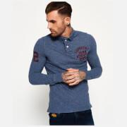 Superdry Men's Super State Long Sleeve Polo Shirt - Indigo Grindle