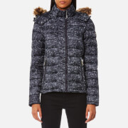 Superdry Women's Printed Fuji Double Zip Hooded Jacket - Navy Grit Print