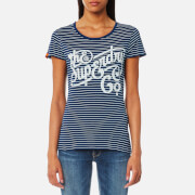 Superdry Women's The Super Co Indigo Stripe T-Shirt - Marine