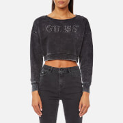 Guess Women's Cropped Sweatshirt - Dark Grey Acid Wash
