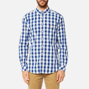 Joules Men's Long Sleeve Classic Fit Shirt with Pocket - Blue Gingham