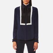 Karl Lagerfeld Women's Silk Colour Block Blouse - Peacoat