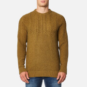 Barbour Men's Craster Crew Knitted Jumpers - Antique Gold