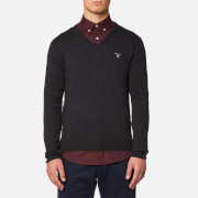 GANT Men's Cotton Wool Mix V Neck Knitted Jumper - Dark Charcoal Melange