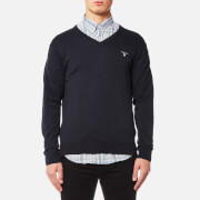 GANT Men's Cotton Wool Mix V Neck Knitted Jumper - Navy