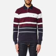 GANT Men's Multi Stripe Heavy Rugger Top - Purple Wine