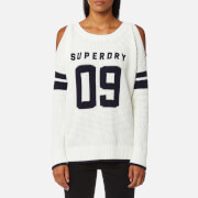 Superdry Women's Varsity Cold Shoulder Knitted Jumper - Cream
