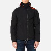 Superdry Men's Tech Hood Pop Zip Windcheater Jacket - Black/Vermillion